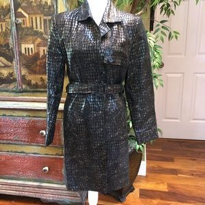Newport News Leather Trench Coat Embossed Croc Med